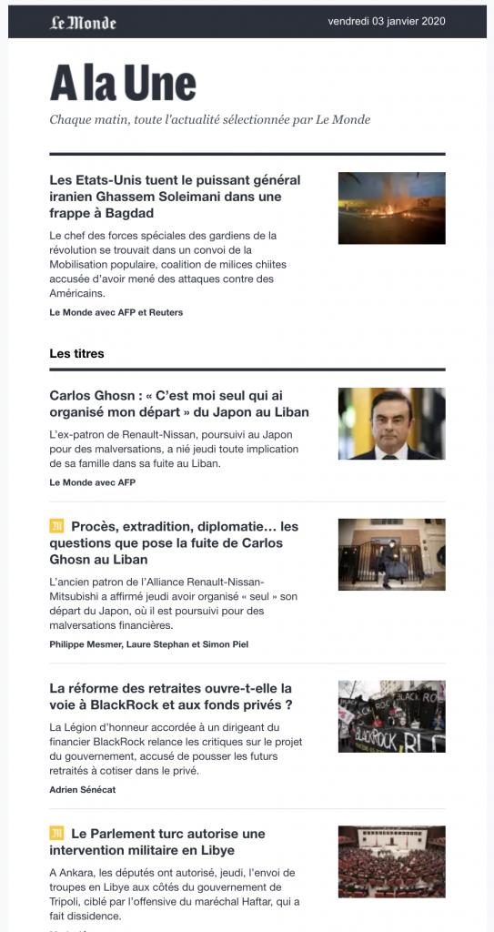 newsletter personnalisée - Le Monde